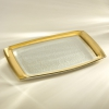 Glass Gold Rim Rectangular Tray